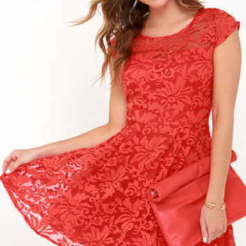 Some Like It Haute Coral Red Jacquard Skater Dress