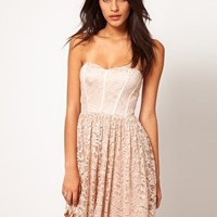 ASOS Strapless Skater Dress in Lace at asos.com