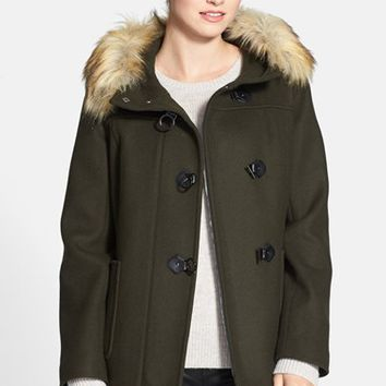 Women's Kristen Blake Faux Fur Trim Hooded Wool Blend Duffle Coat,