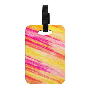 "Ebi Emporium ""All That Jazz"" Yellow Pink Decorative Luggage Tag"