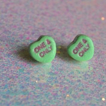 MDIGONB Preserved Conversation Heart Candy earrings grab bag