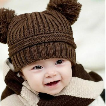 Korean Winter Baby Girls Boys Cute Knitted Love Hat Double Ball Children Sweater Cap Fashionable Brand 2017 New Arrival MZ008