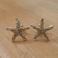 Chunky Clear Rhinestone on Gold Starfish Earrings
