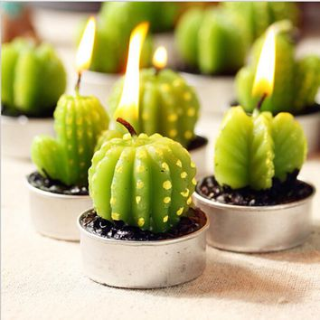 6pcs/set Simulation Green Plants Candle Mini Cactus Fruit Grape Candles Tealight For Birthday Wedding Home Decoration