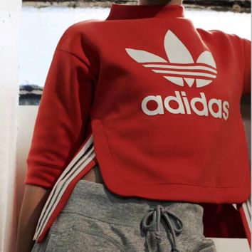 Adidas Casual Long Sleeve Crop Top Sweater Pullover