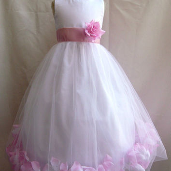 Flower Girl Dress WHITE w/ Pink Light PETAL Wedding Children Easter Bridesmaid Communion Pink Light Orange Burnt Lilac Burgundy Guava Green