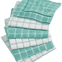 "DII 100% Cotton, Machine Washable, Basic Everyday Kitchen Dish Cloth, Windowpane Design, 12 x 12"" Set of 6- Aqua"