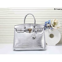 Hermes Fashionable Women Leather Handbag Tote Shoulder Bag Silvery