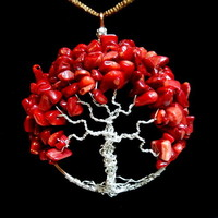 Red Dyed Bamboo Coral Chips Tree of Life Necklace World Tree