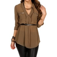 Mocha Roll Up Chiffon Top