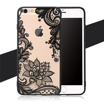 Sexy Lace Retro Vintage Floral Flower Printed Soft Case Couque For iPhone SE 5 5s 6 6S 6Plus 7 7 Plus Luxury Phone Cases Cover