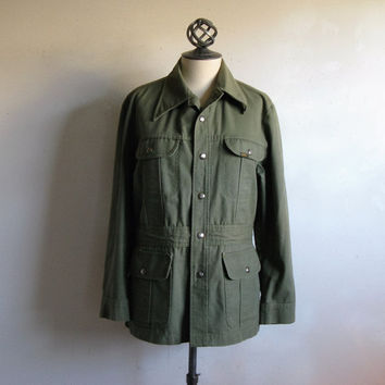 LEE 1970s Vintage Jacket 70s Men's Army Green Khaki Casual Leisure Shirt Jacket Shirt M Made in USA
