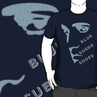 Blue Suede Shoes Elvis silhouette for dark garments by HomeTimeArt