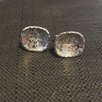 SALE -Vintage Silver Tone Swank Cufflinks - Rounded Square