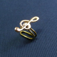 Gold music symbol charm Ear Cuff, Nose cuff, Tragus cuff, charm ear cuff,  Non Pierced Nose Ring, Cartilage, Fake piercing