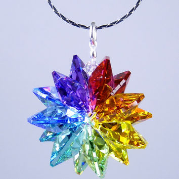 m/w Swarovski Crsytal Chakra 7 Healing Colors  Star SunCatcher or Pendant Includes Chain by Lilli Heart Designss
