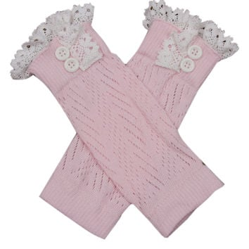 Pink Button Ruffled Crochet Knitted Leg Warmers