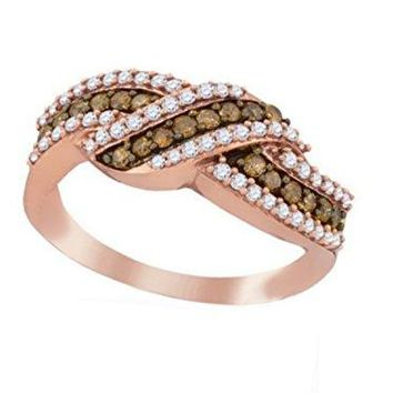 Brandy Diamond Chocolate Brown 10k Rose Gold Luxurious Crossover Fine Band Ring 3/4 Ctw.