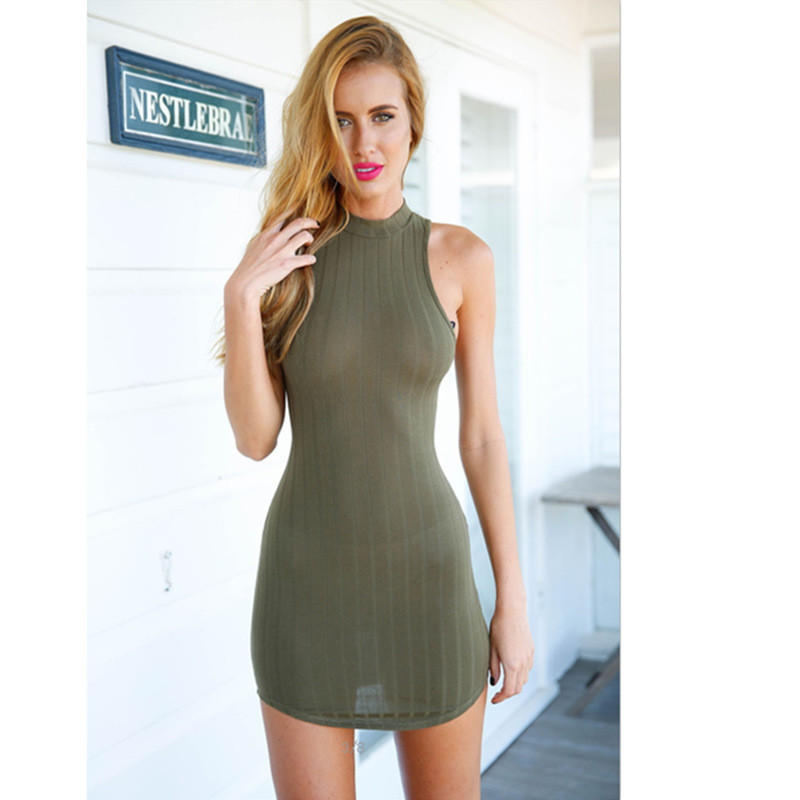f50a9c5f596fe0 Womens High-quality Sexy Tight Sleeveless Dress + Free Gift - Random Choker  - Gift-81