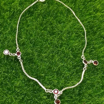 Delicate Vintage Sterling Silver Anklet with Red Crystal Cut Glass Stones