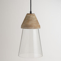 Wood Top Glass Hanging Pendant Lamp - World Market