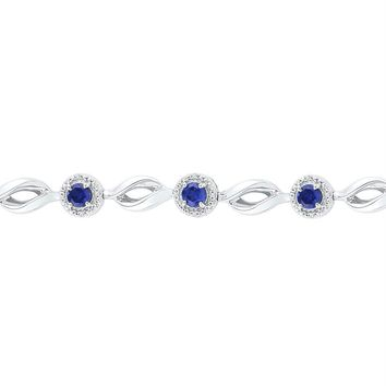 Sterling Silver Women's Round Lab-Created Blue Sapphire Tennis Bracelet 3-1-4 Cttw - FREE Shipping (US/CAN)