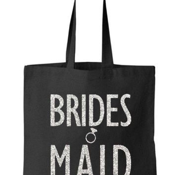 Silver Gold or your choice Glitter color Bridesmaid Black Tote Bag - Bridesmaid, Bridal, Wedding, Bachelorette Party Gift