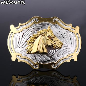 WesBuck Horse Head Silver and Gold Fashion Belt Buckle