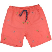 Sandbar Swimsuit in Coral with Embroidered Seaplane and Palm by Castaway Clothing - FINAL SALE