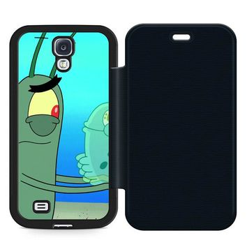Plankton Spongebob Squarpants Leather Wallet Flip Case Samsung Galaxy S4
