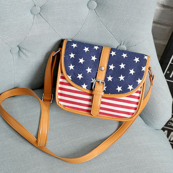 American Flag Canvas Crossbody Shoulder Bag