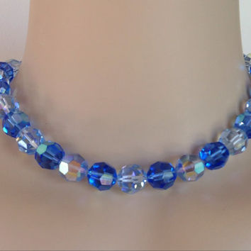 Huge Blue Crystal Aurora Borealis Bead Necklace Choker Signed Something Blue Bridal Necklace