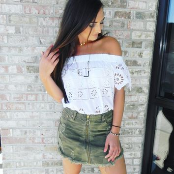 Dance and Marvel Distressed Mini Skirt in Camo