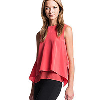 1. STATE Handkerchief-Hem Blouse - Spiced Coral