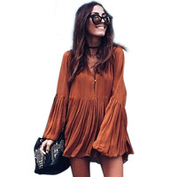 Hot Sale! New 2016 Fashion Women Dress Pure Color Soft Casual Dresses Long Sleeve Autumn Loose Sexy V Neck Mini Vestidos S-XL