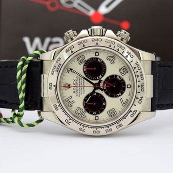 Rolex Daytona White Gold Panda Black Leather Strap 116519 WATCH CHEST