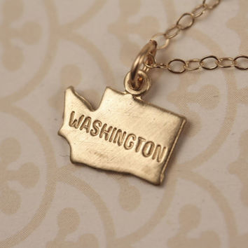 Small Gold Washington State Charm Necklace, Miniature Brass Pendant, 14kt Delicate Filled Chain, Little, Simple, Mini Geography, Map, Land