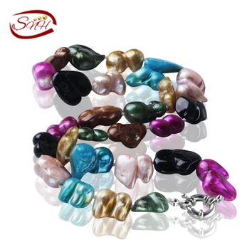 SNH 11-12mm baroque mixed color 925silver A + Natural 100% Genuine Pearl Necklace Pearl Jewelry Choker Necklace