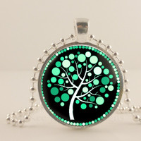 """Emerald green and black tree, 1"""" round glass and metal Pendant necklace Jewelry."""