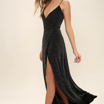 Celestial Black and Silver Wrap Maxi Dress