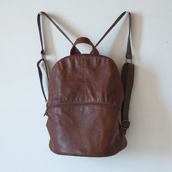 Women Purse, Brown Leather Backpack, Soft Leather Backpack, Leather Rucksack, Small Leather Backpack, School Backpack, Travel Backpack