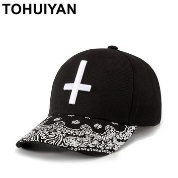 Trendy Winter Jacket TOHUIYAN Gothic Cross Embroidery Baseball Cap Polo Style Bone Casquette Dad Hat Gorras Snapback Caps Hip Hop Hats For Men Women AT_92_12
