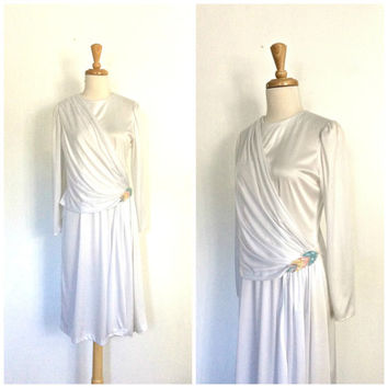 Vintage White Party Dress - Grecian dress - disco - studio 54 - bombshell - 70s dress - S M