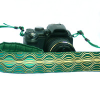 Camera Strap. DSLR Camera Strap. Gold and Green Camera Strap. Camera Accessories. Gift for Photographer.