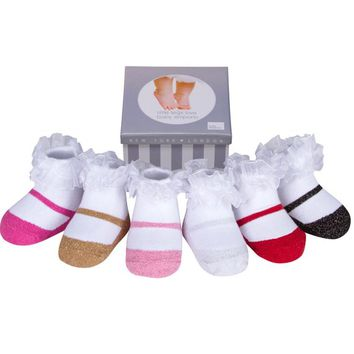 Baby Girl Socks that look like shoes- 3-12 Months -Anti slip-Soft Cotton-6 Pairs - Baby Shower Gift - Gift Box-SPARKLE MARY JANE