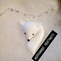 FOX NECKLACE arctic fox Glass Fox Lampwork Pendant  on a 24 inch silver chain.