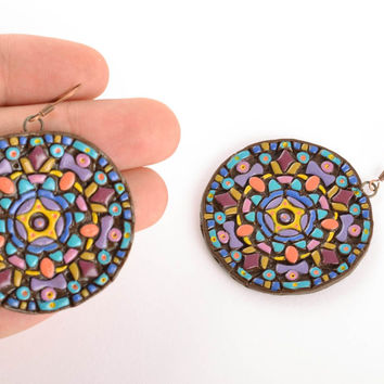 Handmade polymer clay earrings Mosaic