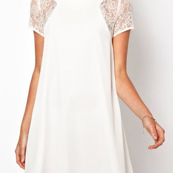 White Lace Chiffon Mini Dress