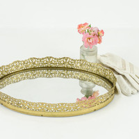 Vintage Oval Vanity Tray with Mirror