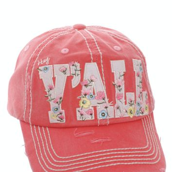Red Hey Y'all Floral Distressed Vintage Cap